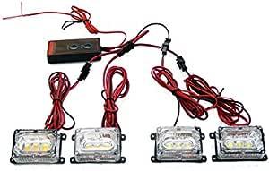 BiaoChi® Car Auto Ultra Slim LED CREE 6 Flash Modes 12V 3W Hazard Security Emergency Warning Flashlight Grill Dash Deck Strobe Light Lamp Bar KM607 (White)
