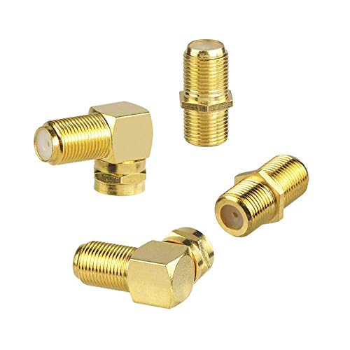 VCE (4-Pack Gold Plated F-Type Coaxial RG6 Connector & Right Angle F-Type Coaxial RG6 Adapter Cable Extension Adapter Connects Two Coaxial Video Cables ()