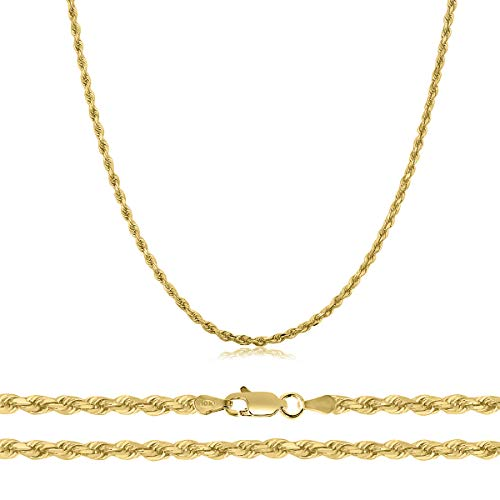 Orostar 10K Yellow Gold 1.9mm Diamond Cut Rope Chain Necklace, 16