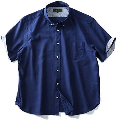 Bowerbirds Works 半袖 綿麻 ボタンダウンシャツ azsh-190229 大きいサイズ メンズ 2L 3L 4L 5L 6L