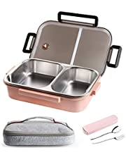 Stainless Steel Lunch Container,2 Compartments Stainless Steel Square Leak Proof Lunch Box with Insulated Lunch Bag Portable Utensil for Kids and Adults (34oz-Pink)