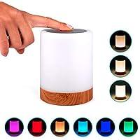 Lampara decorativa tactil con luz LED de colores para mesa, sobremesa o mesilla de noche   Lamparita RGB pequeña y recargable, de diseño moderno para decoracion de jardin, terraza, salon o habitacion