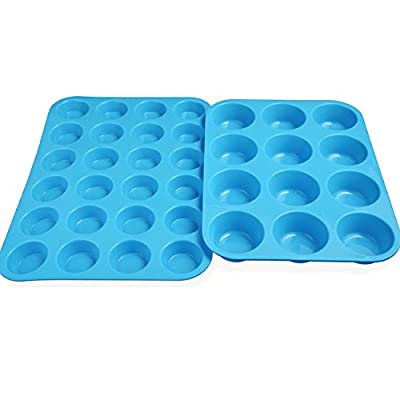Silicone Muffin Cupcake Pan Set (12 Cup and 24 Min Cup Sizes) Blue