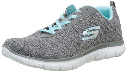 Skechers Womens Flex Appeal 2.0 Sneaker Grigio Chiaro Blu