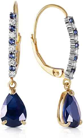Galaxy Gold 3.35 Carat 14k Solid Gold Leverback Earrings with Natural Diamonds and Sapphires