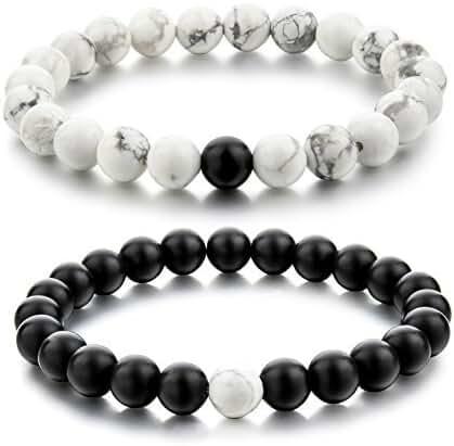 Couple Black Matte Agate & White Howlite 8mm Beads Bracelet By Choker