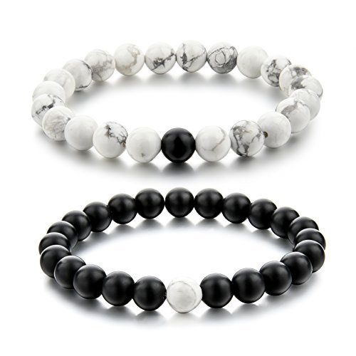 Couple Black Matte Agate  White Howlite 8mm Beads Bracelet By Choker