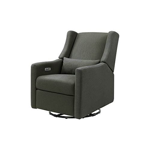 Cheapest Price! Babyletto Kiwi Electronic Recliner and Swivel Glider with USB Port, Charcoal Weave with Dark Legs