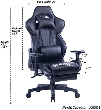 Blue Whale Gaming Chair with Adjustable Massage Lumbar Pillow,Retractable Footrest and Headrest -Racing Ergonomic High-Back PU Leather Office Computer Executive Desk Chair (GM039Black-2) 41S4QGklv L