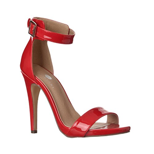 Riverberry Women's Madi Open Ankle Strap High Heel Pumps, Red Patent, (Sexy Red Patent Shoes)