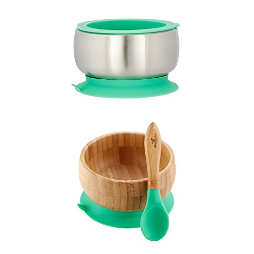 Avanchy Sustainable Bundle Green – Bamboo Baby Bowls Set Stainless Steel Baby Bowl Set. Baby Shower, Baby Registry, Home Set. Baby Girl, Baby Boy, Unisex. FDA Approved, BPA Free.