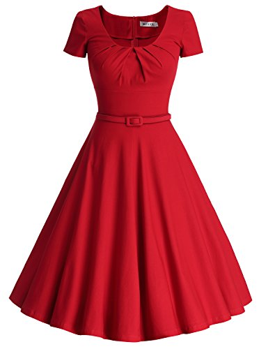 MUXXN Women's 1950s Vintage Short Sleeve Pleated Swing Cocktail Dress