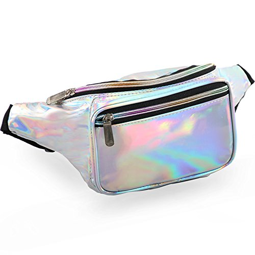 Holographic Fanny Pack for Women - Waist Fanny Pack with Adjustable Belt for Rave, Festival, Travel, -