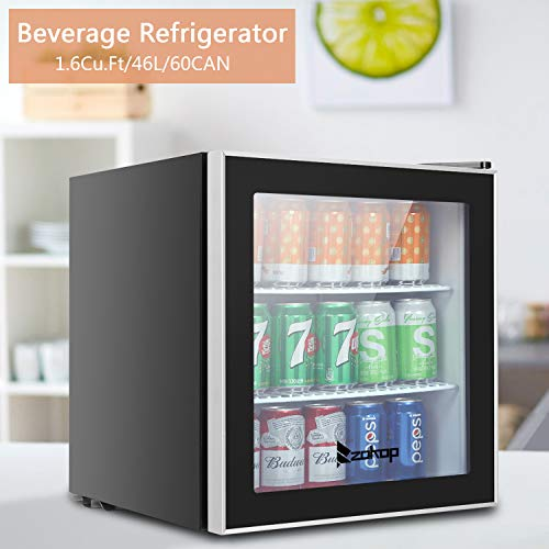 Beverage Fridge, 1.6Cu.Ft/46L/60CAN Small Mini Dorm Home Can Refrigerator Cooler with 7-grade Adjustable Thermostat and Stainless Steel Trimmed Glass Door for Beer Soda Drink Coca Cola (US STOCK)