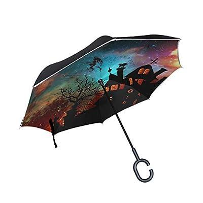 Sunmoonet Reverse Umbrella, Halloween Witch Starry Sky, Outdoor Windproof Double Layer Inverted Umbrella Rain Protection Upside Down Car Reverse UV Umbrellas for Men Women