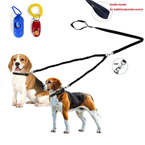 Fuzzymoo Double Dog Leash, Dual Dog Leash Coupler, 360° Swivel Durable No Tangle, Shock Absorbing Reflective Bungee Training Dog Leash for Two Dogs Plus Waste Bag Dispenser & Dog Training Clicker (M) ()