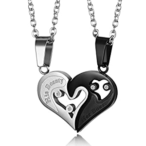 Thunaraz Stainless Steel Heart Necklace His Beauty Her Beast Couple Necklace Love Heart Puzzle Matching for Men Women