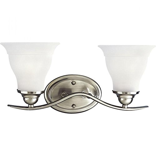 Progress Lighting P3191Ebwb Trinity Energy Efficient Two Light Bathroom Fixture With Etched Glass Shades