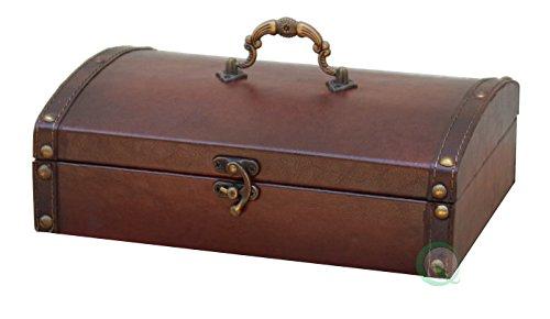 Vintiquewise(TM) Vintage Style Leather Treasure Chest/Decorative Box, Small (Wicker Treasure Chest)