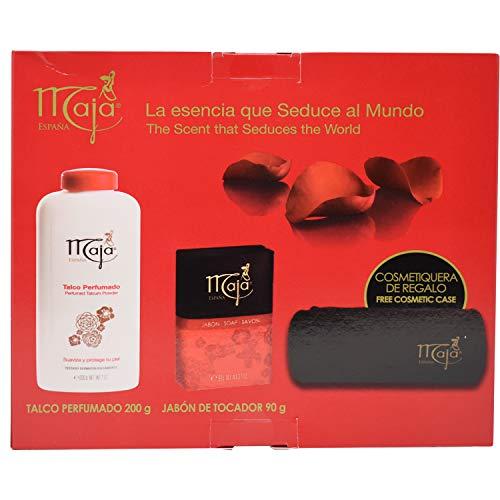 Maja Set Perfumed Talcum Powder 200g Soaps 90g  Cosmetic Case by Myrurgia