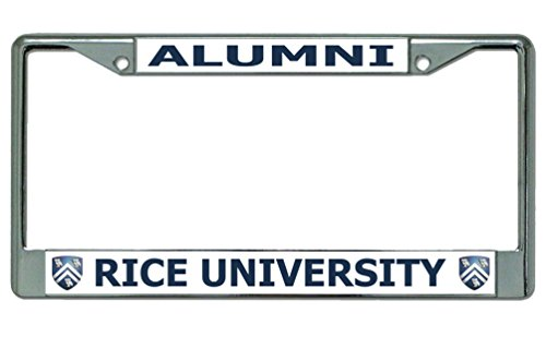 Rice University Alumni Chrome License Plate Frame (Drilled Top Rice)