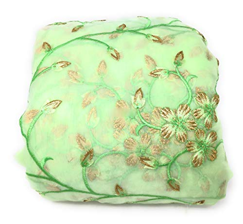 Inhika Womens Organza Material with Floral Embroidery Fabric by The Yard for Dress (6 Yard, Pistacio Green)