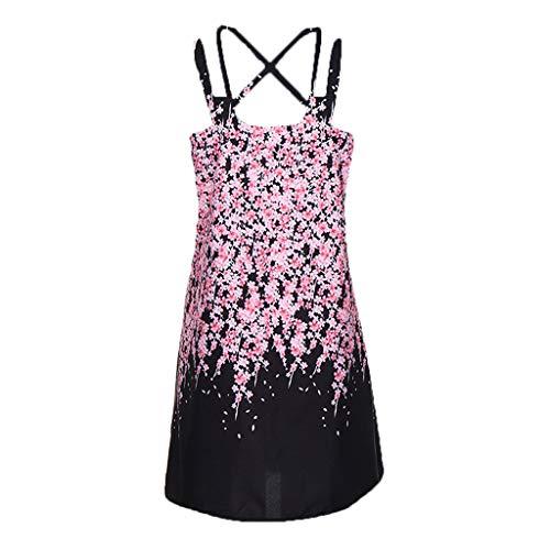 EOWEO Women Dress,2019d Vintage Boho Women Summer Sleeveless Beach Printed Short Mini Dress(XX-Large,Black) by EOWEO (Image #2)