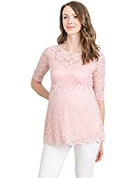 Women's Lace Maternity Blouse Top - Floral, Elbow Sleeve,...