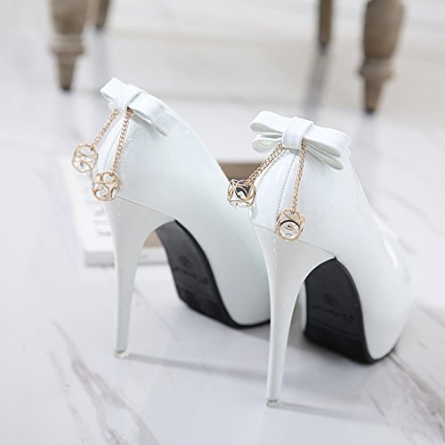 SDKIR-Spring and autumn super high heels round head fine heel waterproof table women's shoes sexy diamond bow women's shoesThirty-fourwhite