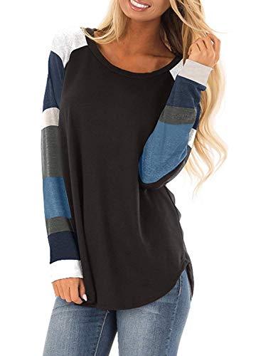 Yidarton Women Long Sleeve Casual Blouse Shirts Tops Round Neck Striped Block Tunic Sweatshirt (Black, S)