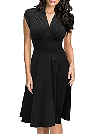 Miusol Women's Deep-V Neck Elegant Cap Sleeve Vintage Bridesmaid Dress