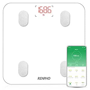 RENPHO Bluetooth Body Fat Scale with APP,Smart Digital Bathroom Scale for Body Weight, Body Fat,Body Water, Skeletal Muscle,Muscle Mass,Bone Mass, Protein,BMI,BMR, Metabolic Age, White Color