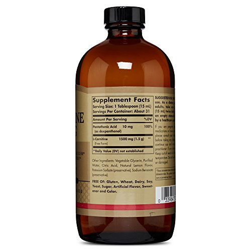 Solgar – L Carnitine Liquid, 1500 mg, 16 oz, Natural Lemon Flavor