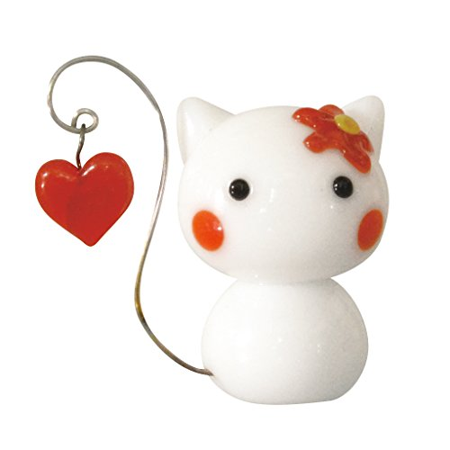 Glass Cat Swing Heart (White)