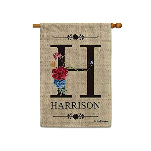 KafePross Welcome Spring Summer Flowers Monogram H Decorative House Flag Customized Your Last Name and Initial Letter Home Decor Banner for Outside 28x40 Inch Print Double Sided