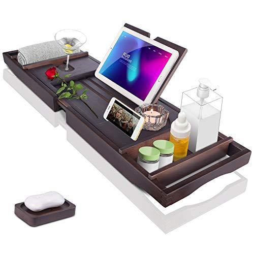Bath Tub Tray Caddy, Bathtub Shelf Table, Clawfoot tub Accessories, Luxury Natural Wooden Bathtub Tray with Soap box…