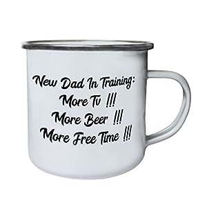 Nuevo papá en el entrenamiento: Más TV Más cerveza Más tiempo libre Retro, lata, taza del esmalte 10oz/280ml gg40e