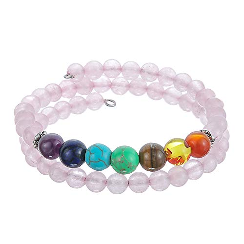 (Pearl&Club Beaded Bead Bangle Warp Bracelet - Multi Strand Bracelet with Natural Agate Stone, Birthday Gifts for Women)