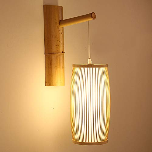 Vintage LED Wall Lamp, Creative Woven Bamboo Wall Light American Country Living Room Bedroom Bedside Wall Sconces
