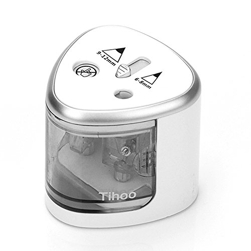 (Tihoo Students Pro Electric Automatic Pencil Sharpener with Safety Device,Double Holes for 6-8 and 9-12 mm Pencils (Silver))