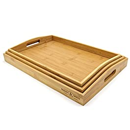 Set of 3 Bamboo Trays | Wooden Serving Platters | Raised Edges & Lightweight | Perfect for Breakfast in Bed & Tea | Serving Tray With Handles | M&W