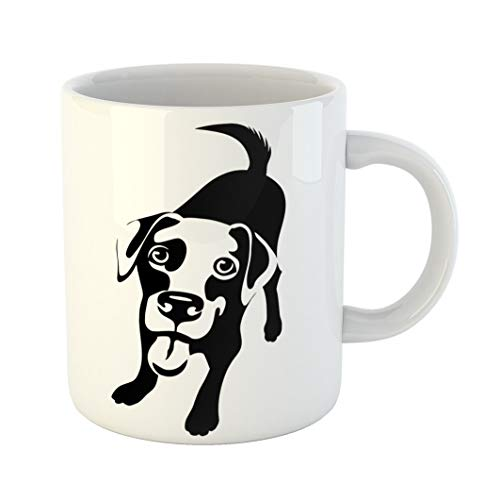 Mug Black Cartoon of Labrador Retriever Dog Lab Nose Puppy White Funny Standing Big 11 Oz Ceramic Coffee Mug Tea Cup Best Gift Or Souvenir ()