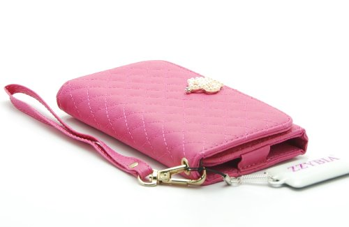 ZZYBIA® IP5 PQC Shocking Pink Leatherette Wristlet Pouch Case Card Holder Wallet for Apple Iphone 5 5s