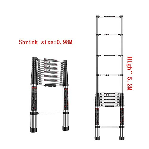 1058 YYHSND Telescopic Ladder Straight Ladder Miniature Fast Shrinking Attic Stretch Descending Cloud Ladder Family Ladder Step Stool (Size : 5.2M) ()