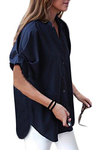V Maxi Courtes Manches Taille yulinge Les Grande Femmes Cou Boutonne Blue Mousseline pour q1BTY