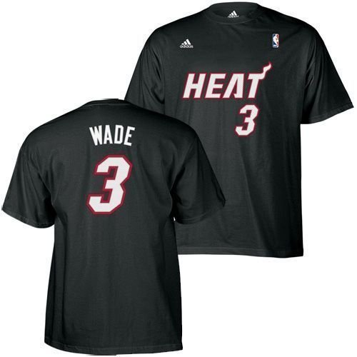 Dwayne Wade Miami Heat Black Jersey Name and Number T-Shirt XX-Large