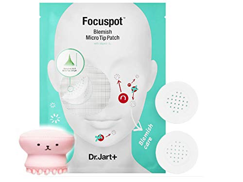 DR. JART+ Focuspot Micro Tip Patches - 6 Patches Total for Blemishes- W/Hyaluronic Acid 65% and Vitamin B3 W/Bonus Cute Face Scrub