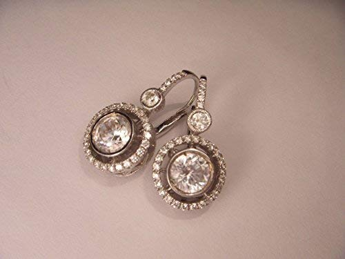 (Fabulous Estate Antique 14K White Gold Solitaire 2 Carat Diamond Drop Earrings)