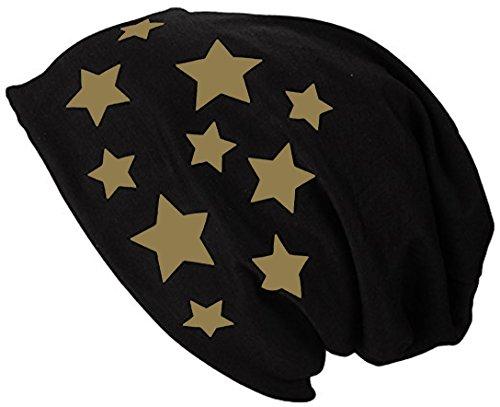 2Store24 Gorro Jersey Largo Beanie con Estrellas Primavera verano Mujer y Hombre dorado