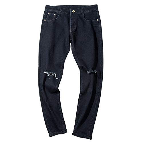 Chettova Hombres Rasgados Agujero Pantalones Vaqueros Bolsillo Cremallera Trabajo Pantalones de Mezclilla Pantalones Casuales Negro